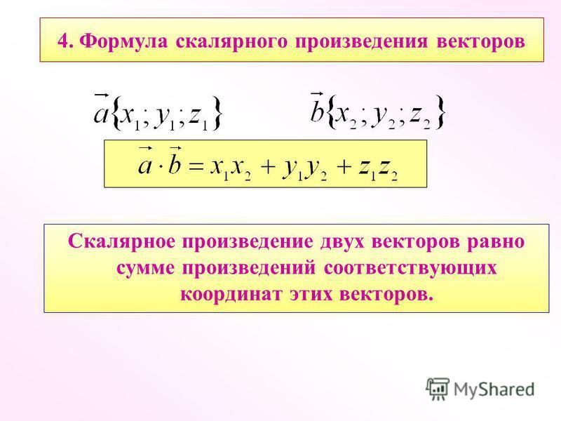 4. Формула скалярного произведения векторов Скалярное произведение двух векторов равно сумме произведений соответствующих координат этих векторов.