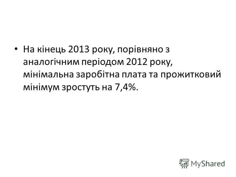 На кінець 2013 року, порівняно з аналогічним періодом 2012 року, мінімальна заробітна плата та прожитковий мінімум зростуть на 7,4%.