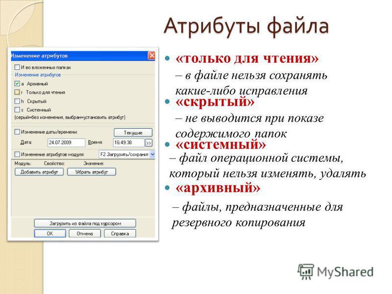 Атрибуты файла «только для чтения» «скрытый» «системный» «архивный» – в файле нельзя сохранять какие-либо исправления – не выводится при показе содержимого папок – файл операционной системы, который нельзя изменять, удалять – файлы, предназначенные д