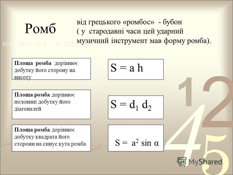 Ромб Площа ромба дорівнює добутку квадрата його сторони на синус кута ромба S = d 1 d 2 Площа ромба дорівнює половині добутку його діагоналей S = a h Площа ромба дорівнює добутку його сторону на висоту S = а 2 sin α від грецького «ромбос» - бубон ( у