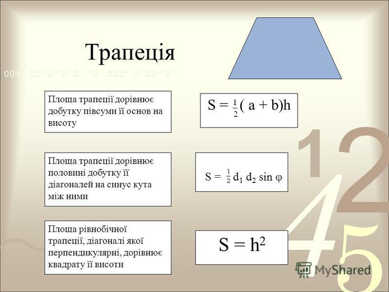 S = d 1 d 2 sin φ Площа трапеції дорівнює половині добутку її діагоналей на синус кута між ними S = ( a + b)h Площа трапеції дорівнює добутку півсуми її основ на висоту S = h 2 Площа рівнобічної трапеції, діагоналі якої перпендикулярні, дорівнює квад