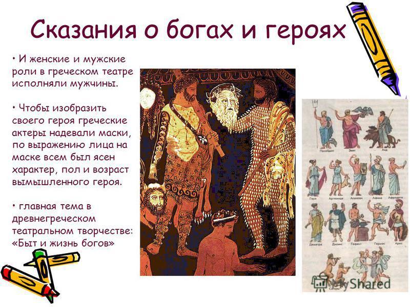 Сказания о богах и героях И женские и мужские роли в греческом театре исполняли мужчины. Чтобы изобразить своего героя греческие актеры надевали маски, по выражению лица на маске всем был ясен характер, пол и возраст вымышленного героя. главная тема