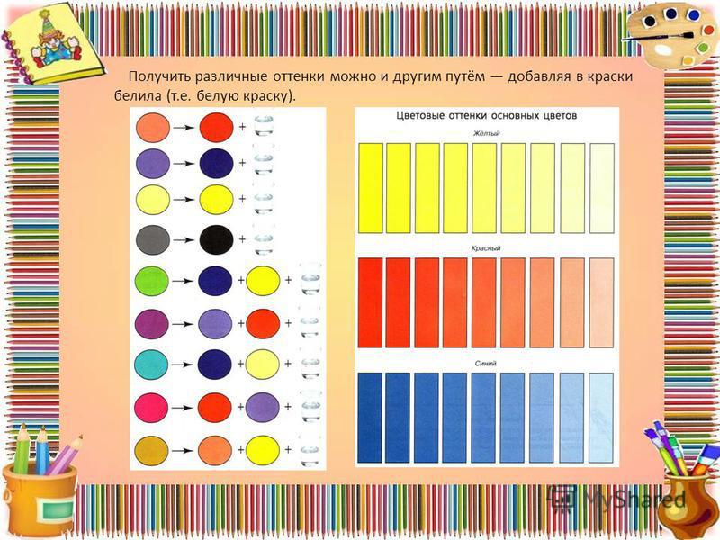 Получить различные оттенки можно и другим путём добавляя в краски белила (т.е. белую краску).