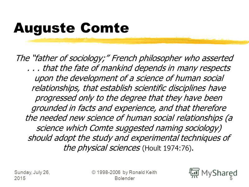 Sunday, July 26, 2015 © 1998-2006 by Ronald Keith Bolender5 Auguste Comte The father of sociology; French philosopher who asserted... that the fate of mankind depends in many respects upon the development of a science of human social relationships, t