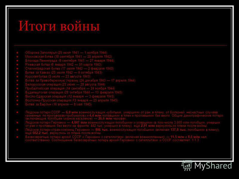 Итоги войны Оборона Заполярья (29 июня 1941 1 ноября 1944) Московская битва (30 сентября 1941 20 апреля 1942) Блокада Ленинграда (8 сентября 1941 27 января 1944) Ржевская битва (8 января 1942 31 марта 1943) Сталинградская битва (17 июля 1942 2 феврал
