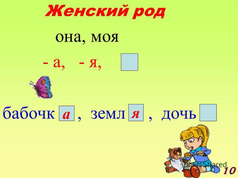 Женский род о на, моя - а, - я, бабочка, земли, дочь а я 10