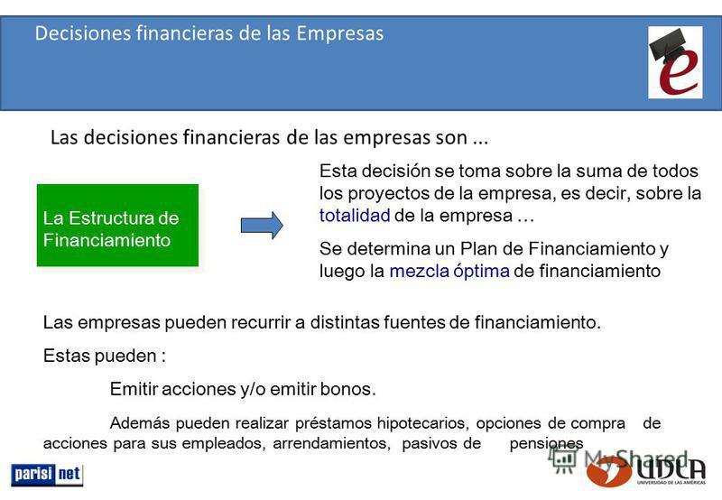 La Estructura de Financiamiento Esta decisión se toma sobre la suma de todos los proyectos de la empresa, es decir, sobre la totalidad de la empresa … Se determina un Plan de Financiamiento y luego la mezcla óptima de financiamiento Las empresas pued