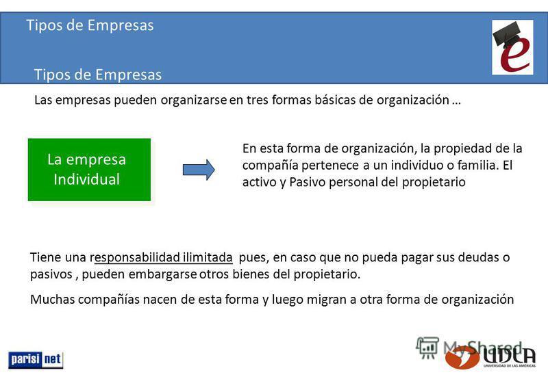 Las empresas pueden organizarse en tres formas básicas de organización … En esta forma de organización, la propiedad de la compañía pertenece a un individuo o familia. El activo y Pasivo personal del propietario Tiene una responsabilidad ilimitada pu