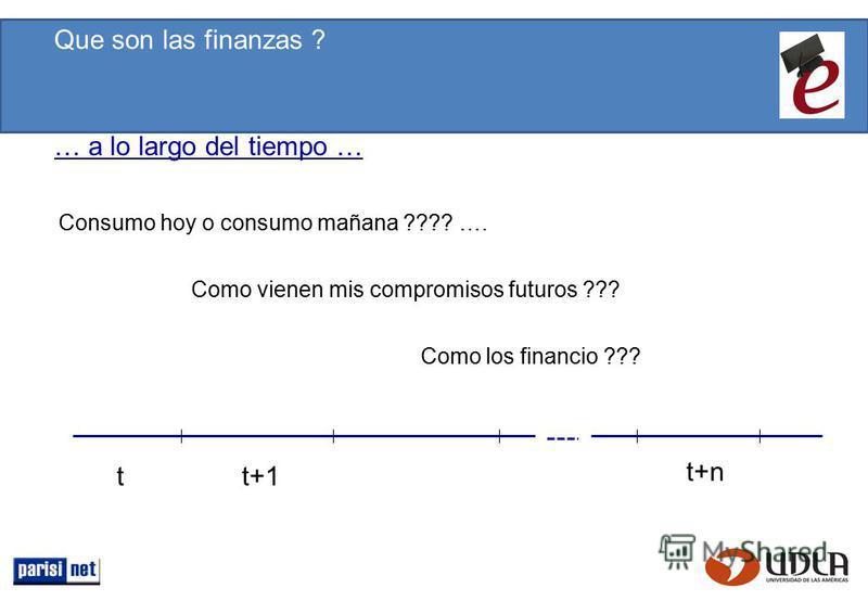Consumo hoy o consumo mañana ???? …. Como vienen mis compromisos futuros ??? Como los financio ??? tt+1 t+n Que son las finanzas ? … a lo largo del tiempo …