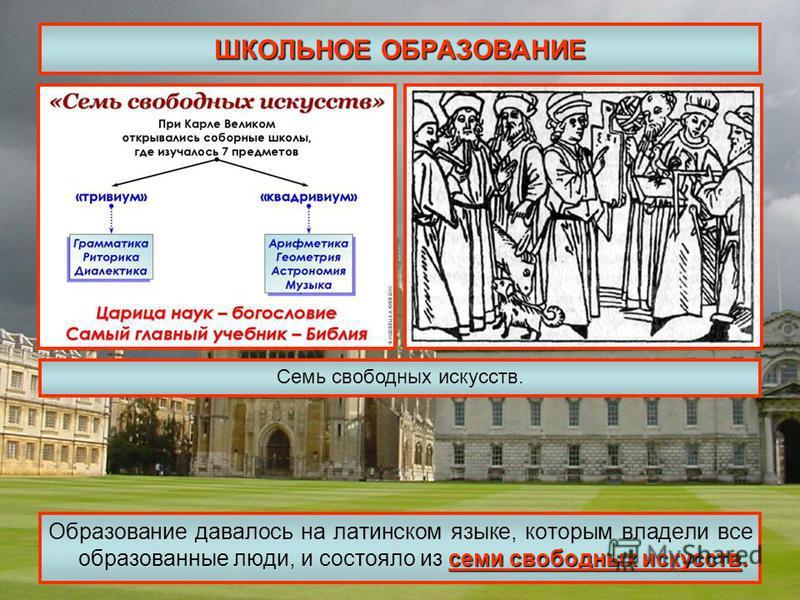 ШКОЛЬНОЕ ОБРАЗОВАНИЕ семи свободных искусств. Образование давалось на латинском языке, которым владели все образованные люди, и состояло из семи свободных искусств. Семь свободных искусств.