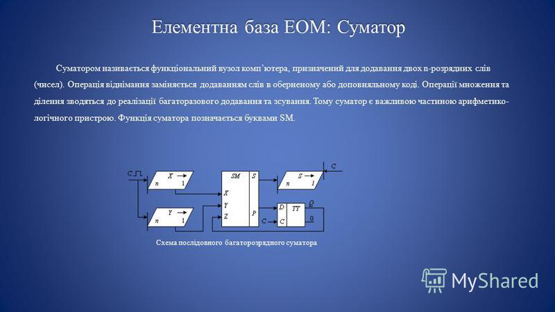 Елементна база ЕОМ: Суматор Суматором називається функціональний вузол компютера, призначений для додавання двох n-розрядних слів (чисел). Операція віднімання заміняється додаванням слів в оберненому або доповняльному коді. Операції множення та ділен