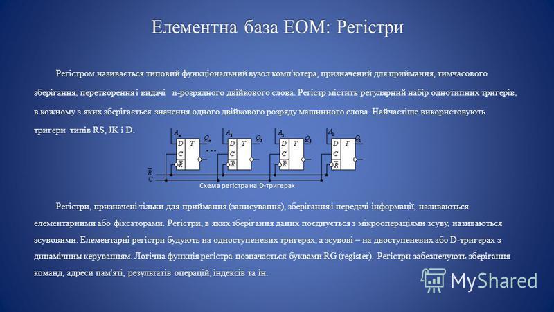 Елементна база ЕОМ: Регістри Регістром називається типовий функціональний вузол комп'ютера, призначений для приймання, тимчасового зберігання, перетворення і видачі n-розрядного двійкового слова. Регістр містить регулярний набір однотипних тригерів,
