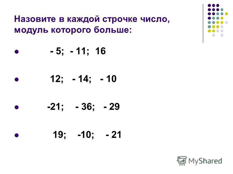 Назовите в каждой строчке число, модуль которого больше: - 5; - 11; 16 12; - 14; - 10 -21; - 36; - 29 19; -10; - 21