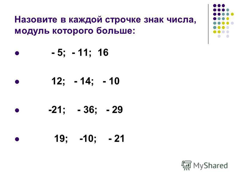 Назовите в каждой строчке знак числа, модуль которого больше: - 5; - 11; 16 12; - 14; - 10 -21; - 36; - 29 19; -10; - 21