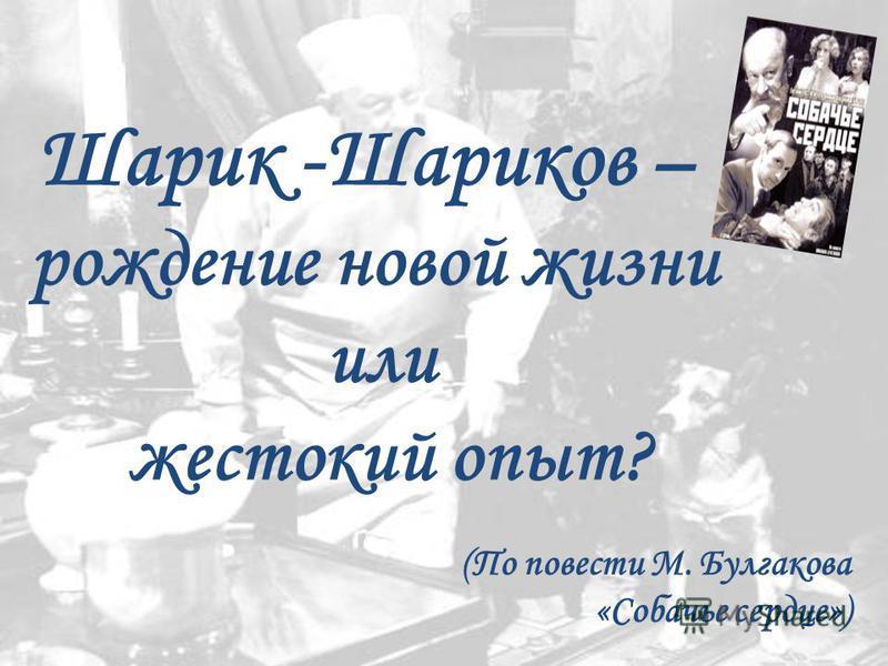 Шарик -Шариков – рождение новой жизни или жестокий опыт? (По повести М. Булгакова «Собачье сердце»)