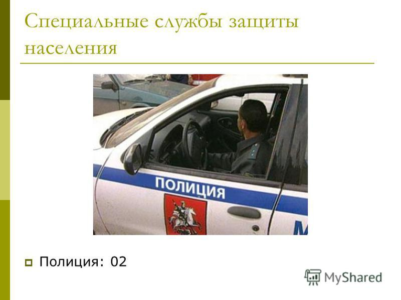 Специальные службы защиты населения Полиция: 02