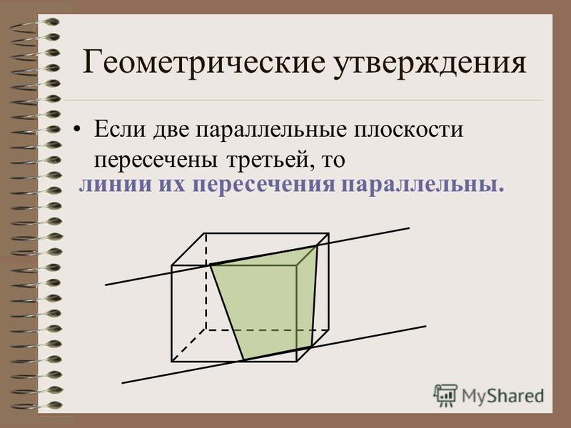 Геометрические утверждения Если две параллельные плоскости пересечены третьей, то линии их пересечения параллельны.