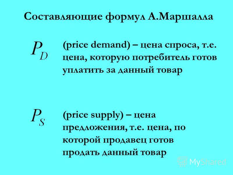 Составляющие формул А.Маршалла (price demand) – цена спроса, т.е. цена, которую потребитель готов уплатить за данный товар (price supply) – цена предложения, т.е. цена, по которой продавец готов продать данный товар