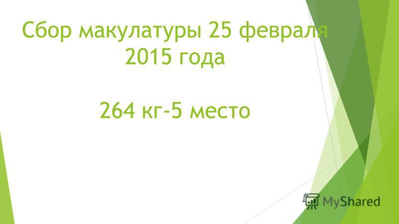 Сбор макулатуры 25 февраля 2015 года 264 кг-5 место