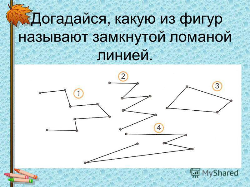Догадайся, какую из фигур называют замкнутой ломаной линией.