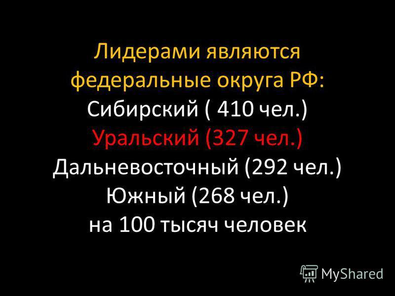 Лидерами являются федеральные округа РФ: Сибирский ( 410 чел.) Уральский (327 чел.) Дальневосточный (292 чел.) Южный (268 чел.) на 100 тысяч человек