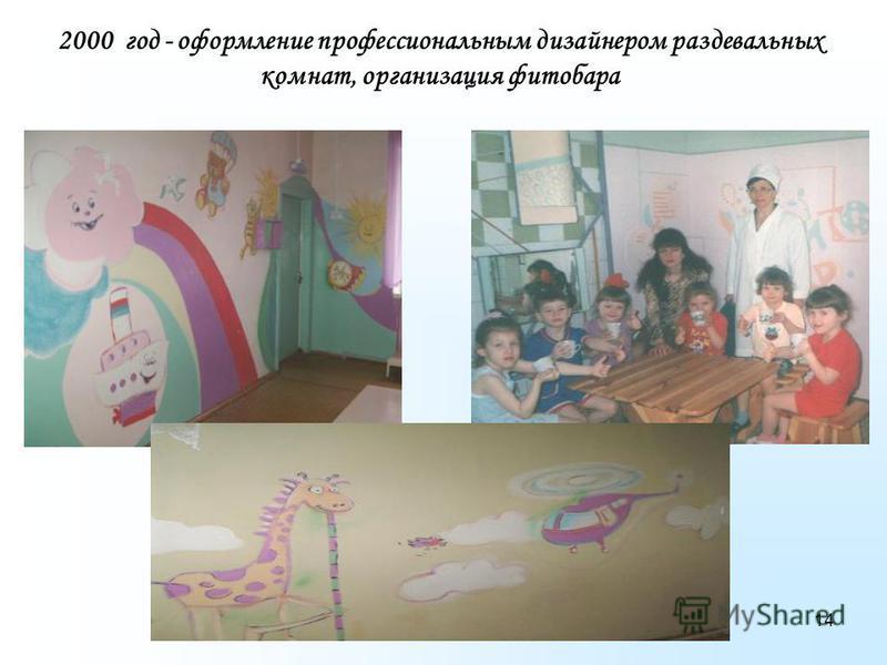 14 2000 год - оформление профессиональным дизайнером раздевальных комнат, организация фитобара