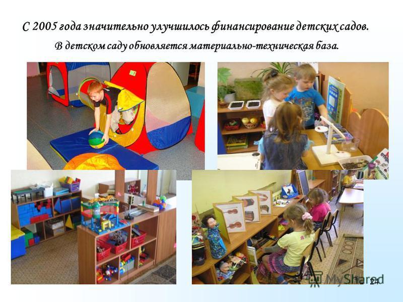 24 С 2005 года значительно улучшилось финансирование детских садов. В детском саду обновляется материально-техническая база.