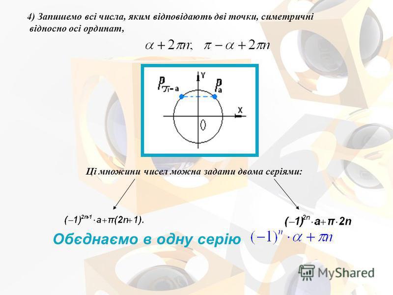 4) Запишемо всі числа, яким відповідають дві точки, симетричні відносно осі ординат, Ці множини чисел можна задати двома серіями: Обєднаємо в одну серію