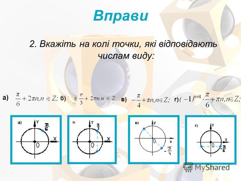 2. Вкажіть на колі точки, які відповідають числам виду: Вправи а) б) в) г)