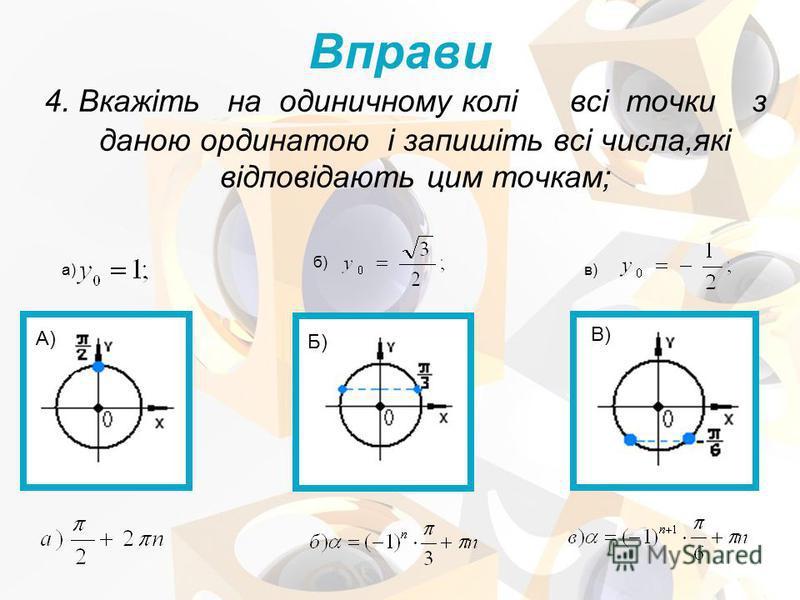 4. Вкажіть на одиничному колі всі точки з даною ординатою і запишіть всі числа,які відповідають цим точкам; а) б) в) Вправи А) Б) В)
