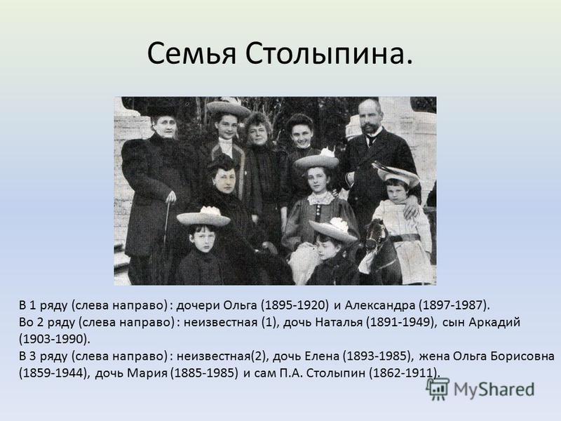 Семья Столыпина. В 1 ряду (слева направо) : дочери Ольга (1895-1920) и Александра (1897-1987). Во 2 ряду (слева направо) : неизвестная (1), дочь Наталья (1891-1949), сын Аркадий (1903-1990). В 3 ряду (слева направо) : неизвестная(2), дочь Елена (1893