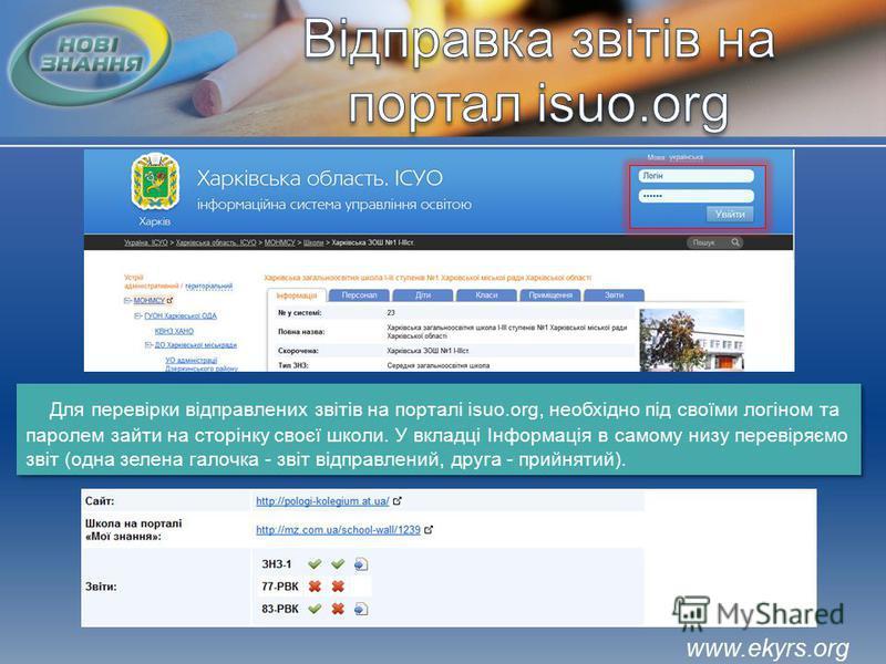 Для перевірки відправлених звітів на порталі isuo.org, необхідно під своїми логіном та паролем зайти на сторінку своєї школи. У вкладці Інформація в самому низу перевіряємо звіт (одна зелена галочка - звіт відправлений, друга - прийнятий).