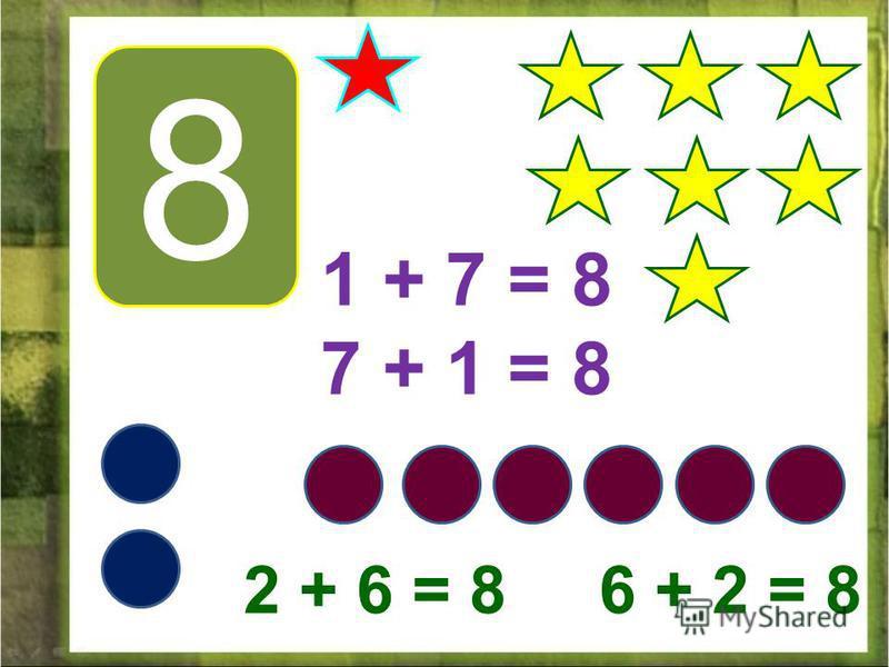 8 1 + 7 = 8 7 + 1 = 8 2 + 6 = 8 6 + 2 = 8