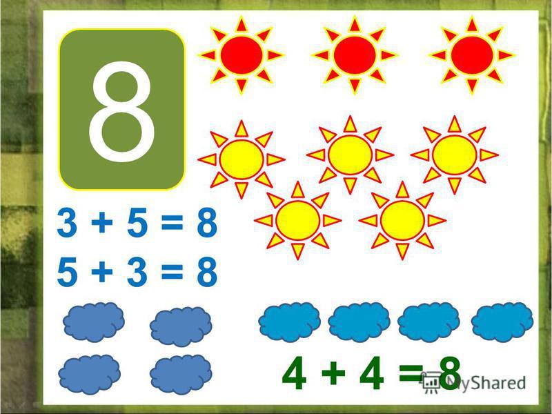 8 3 + 5 = 8 5 + 3 = 8 4 + 4 = 8