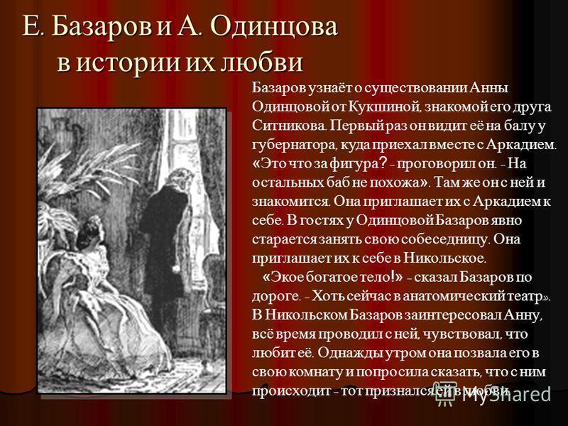 Е. Базаров и А. Одинцова в истории их любви Базаров узнаёт о существовании Анны Одинцовой от Кукшиной, знакомой его друга Ситникова. Первый раз он видит её на балу у губернатора, куда приехал вместе с Аркадием. «Это что за фигура? – проговорил он. –