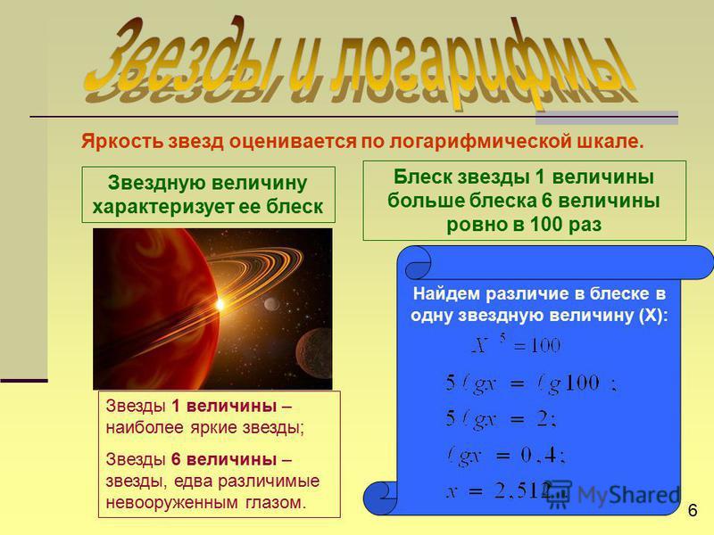 Яркость звезд оценивается по логарифмической шкале. Звезды 1 величины – наиболее яркие звезды; Звезды 6 величины – звезды, едва различимые невооруженным глазом. Блеск звезды 1 величины больше блеска 6 величины ровно в 100 раз Найдем различие в блеске