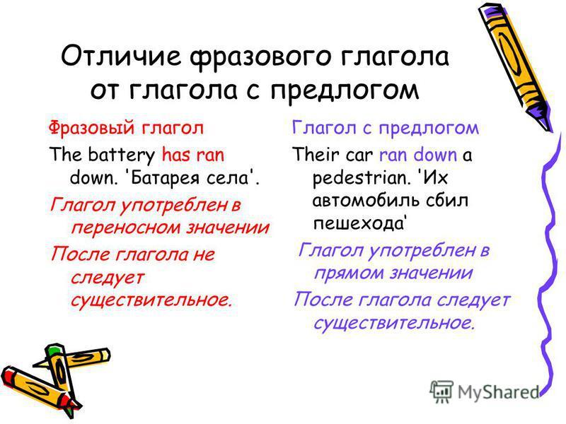 Отличие фразового глагола от глагола с предлогом Фразовый глагол The battery has ran down. 'Батарея села'. Глагол употреблен в переносном значении После глагола не следует существительное. Глагол с предлогом Their car ran down a pedestrian. 'Их автом