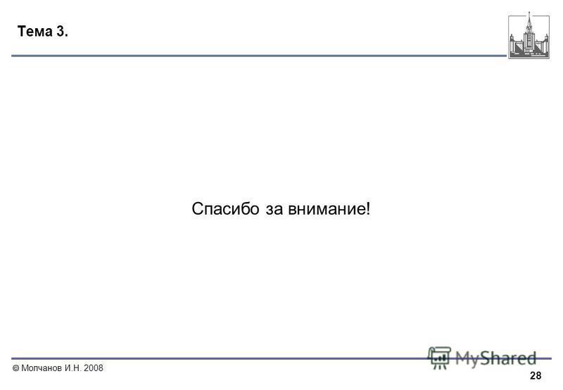 28 Молчанов И.Н. 2008 Тема 3. Спасибо за внимание!