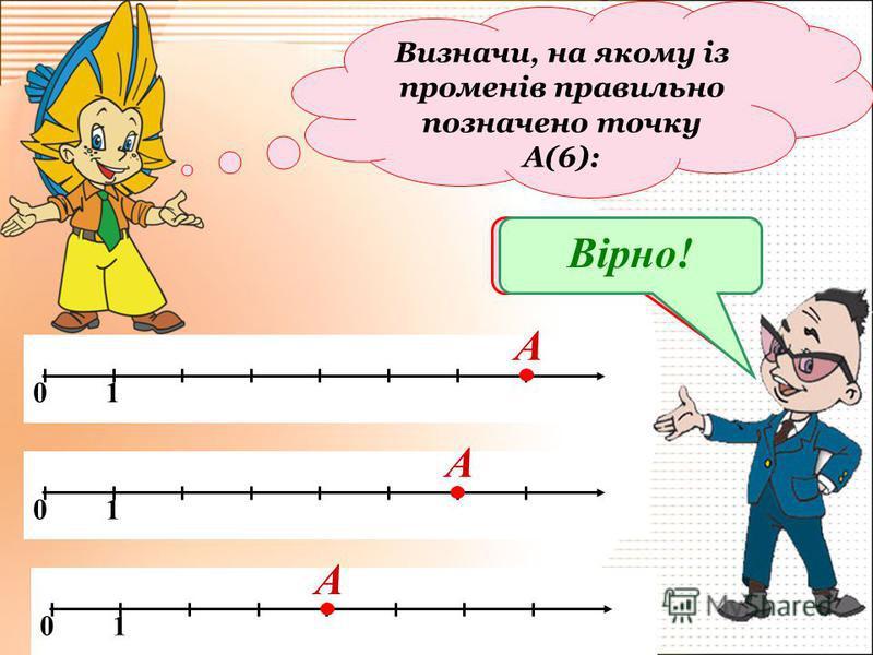 Визначи, на якому із променів правильно позначено точку А(6): 0 1 А А А Подумай!Вірно!