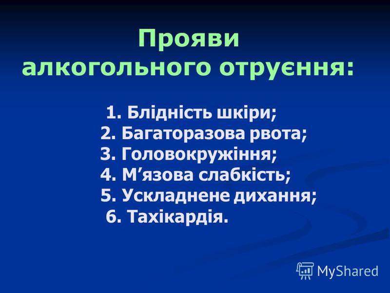 Прояви алкогольного отруєння: 1. Блідність шкіри; 2. Багаторазова рвота; 3. Головокружіння; 4. Мязова слабкість; 5. Ускладнене дихання; 6. Тахікардія.