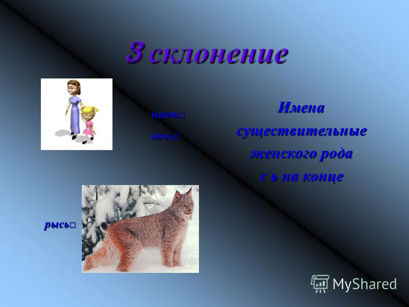 мать мать дочь дочь рысь рысь Именасуществительные женского рода с ь на конце