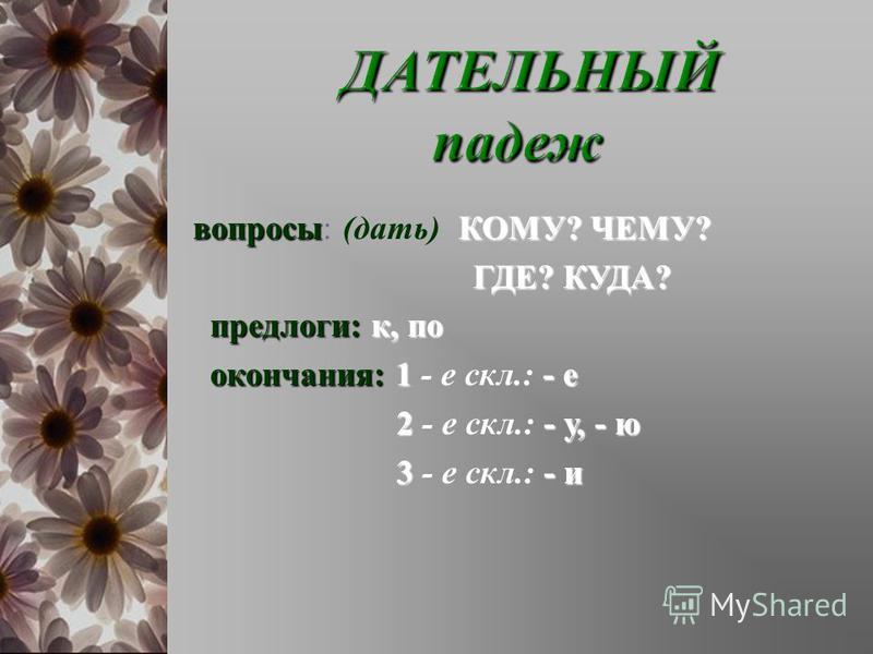 вопросыКОМУ ? ЧЕМУ ? вопросы : ( дать ) КОМУ ? ЧЕМУ ? ГДЕ ? КУДА ? ГДЕ ? КУДА ? предлоги : к, по окончания :1- е окончания : 1 - е скл.: - е 2- у, - ю 2 - е скл.: - у, - ю 3- и 3 - е скл.: - и