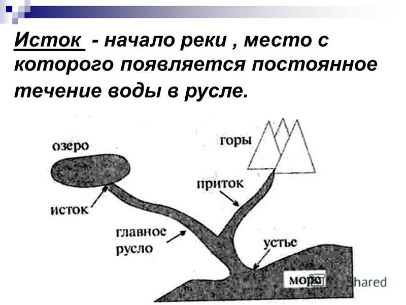 Исток - начало реки, место с которого появляется постоянное течение воды в русле.