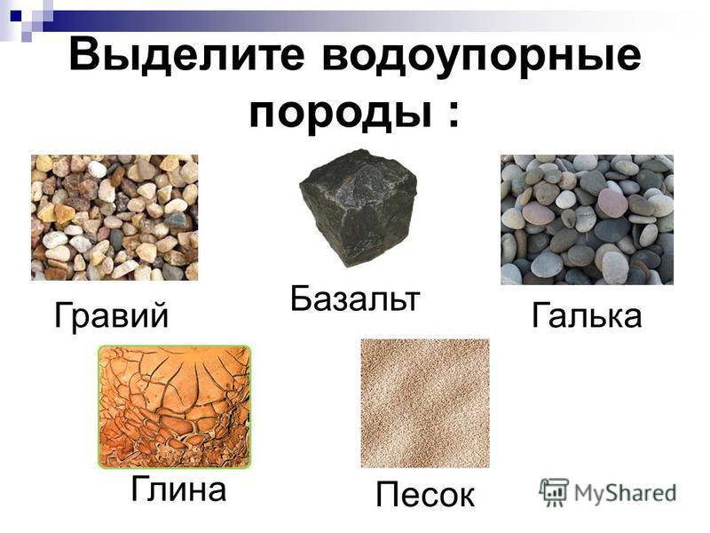 Выделите водоупорные породы : Песок Гравий Галька Базальт Глина