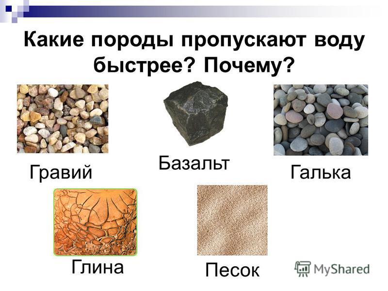 Какие породы пропускают воду быстрее? Почему? Песок Гравий Галька Базальт Глина