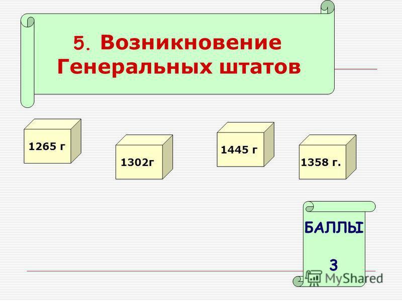 5. Возникновение Генеральных штатов 1265 г 1302 г БАЛЛЫ 3 1445 г 1358 г.