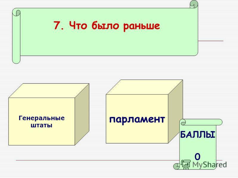 7. Что было раньше Генеральные штаты парламент БАЛЛЫ 0