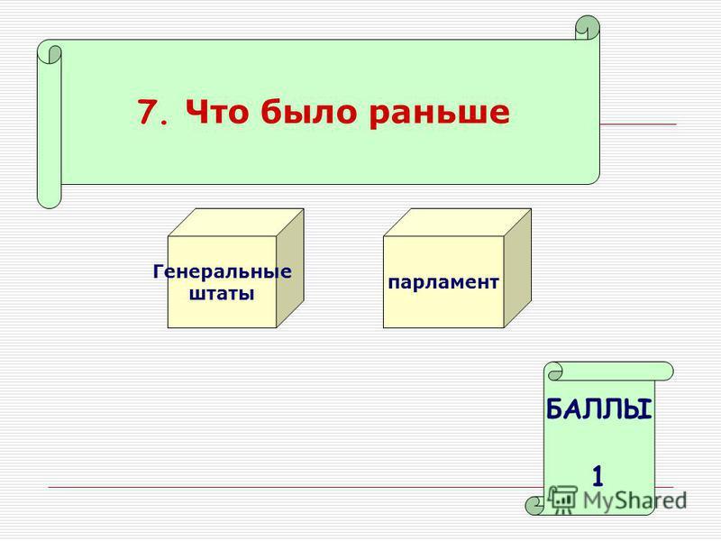 7. Что было раньше Генеральные штаты парламент БАЛЛЫ 1