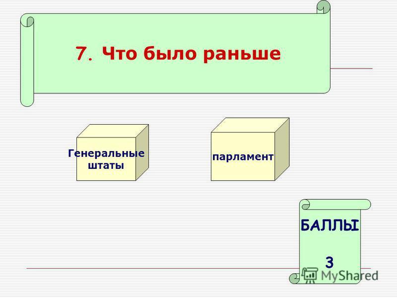 7. Что было раньше Генеральные штаты парламент БАЛЛЫ 3