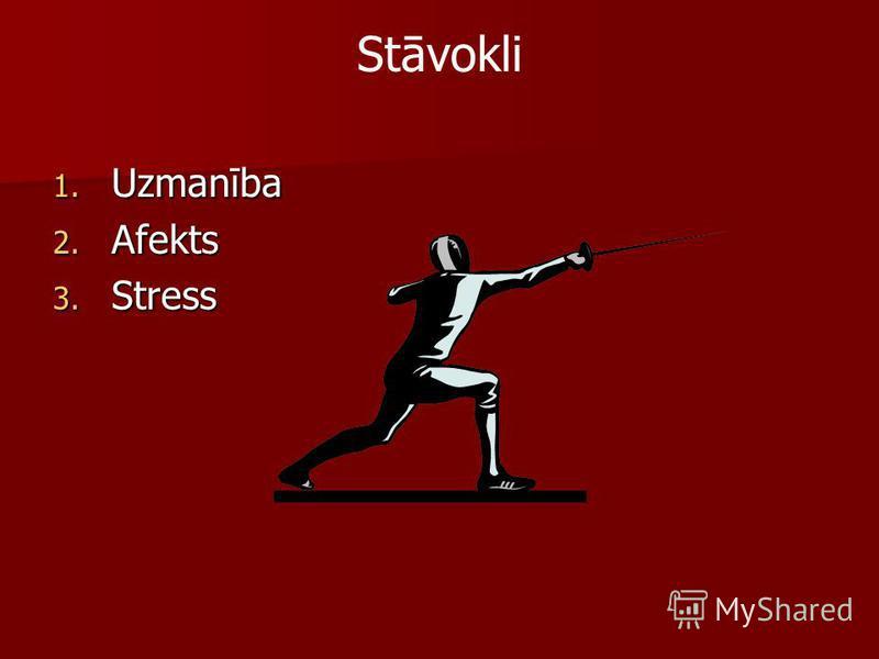 Stāvokli 1. Uzmanība 2. Afekts 3. Stress